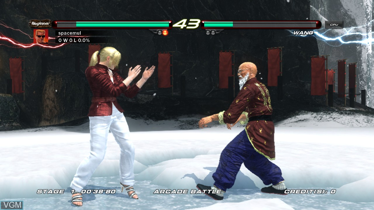 In-game screen of the game Tekken 6 on Microsoft Xbox 360