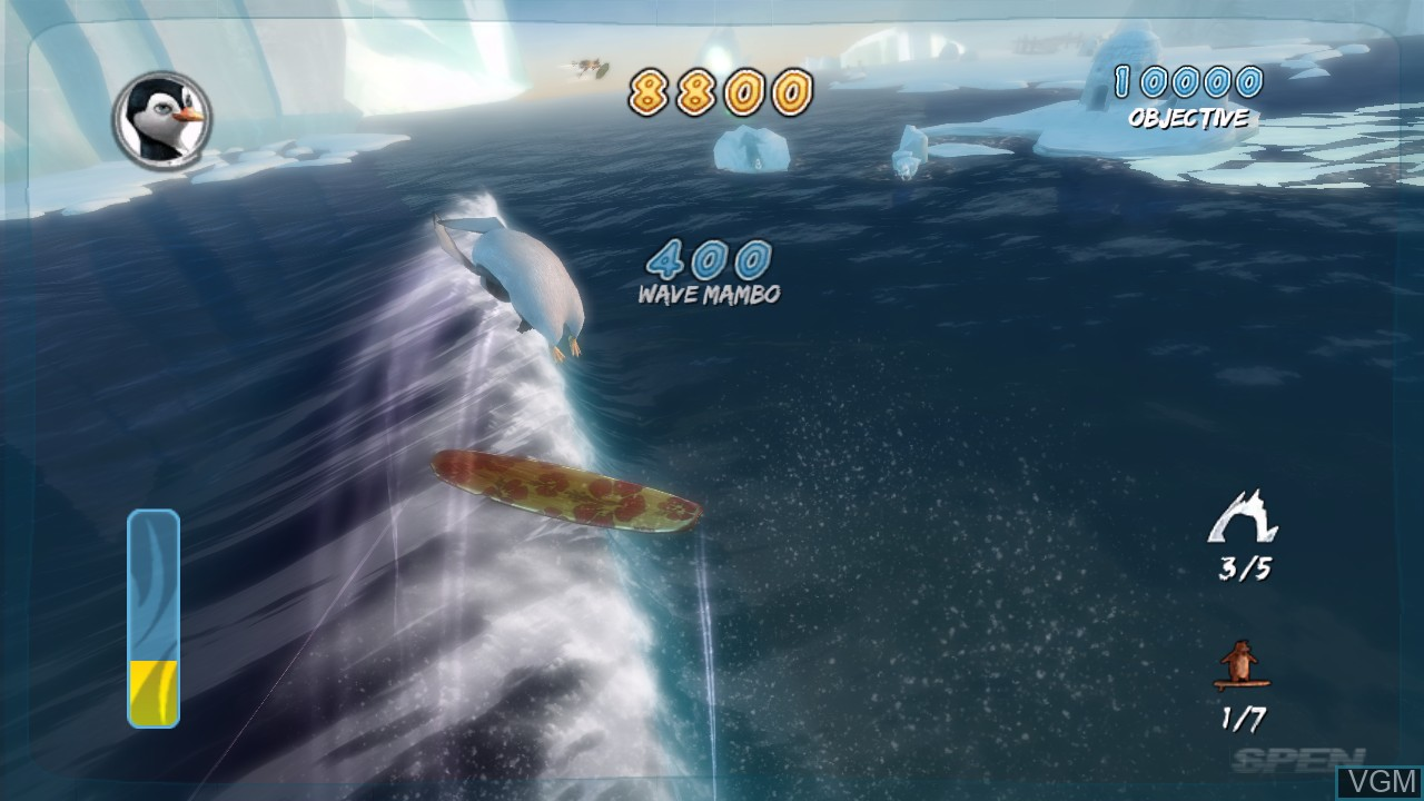 In-game screen of the game Surf's Up on Microsoft Xbox 360