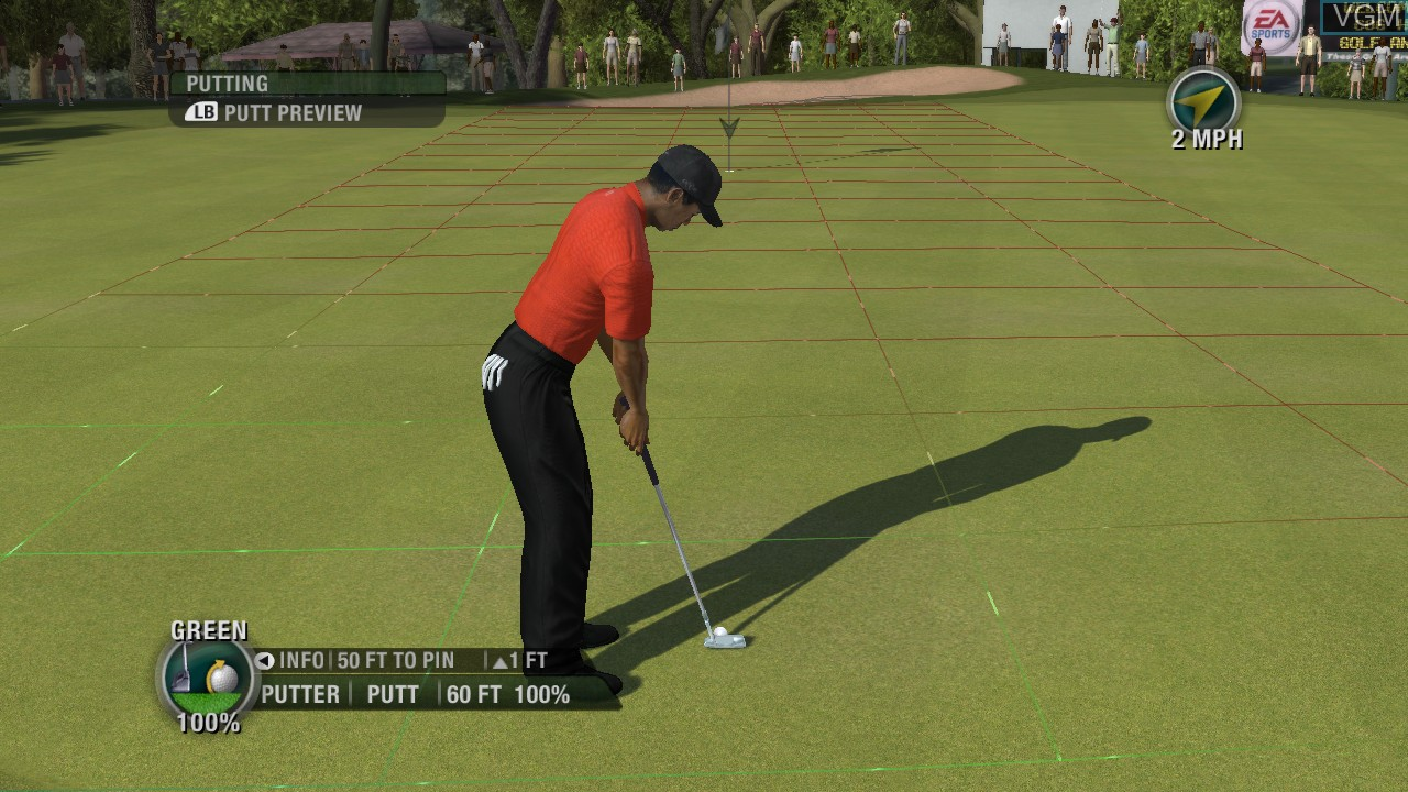 In-game screen of the game Tiger Woods PGA Tour 08 on Microsoft Xbox 360