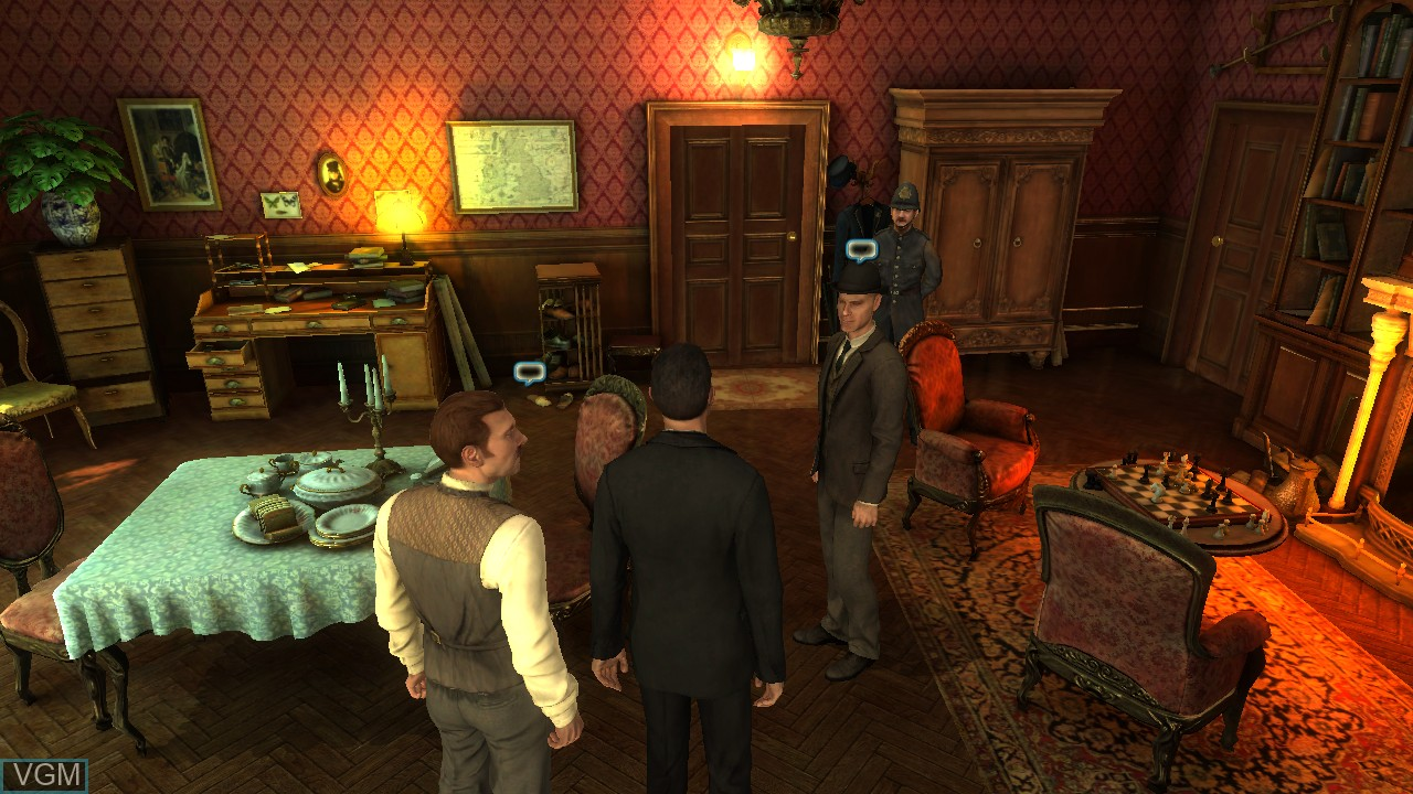 In-game screen of the game Testament of Sherlock Holmes, The on Microsoft Xbox 360