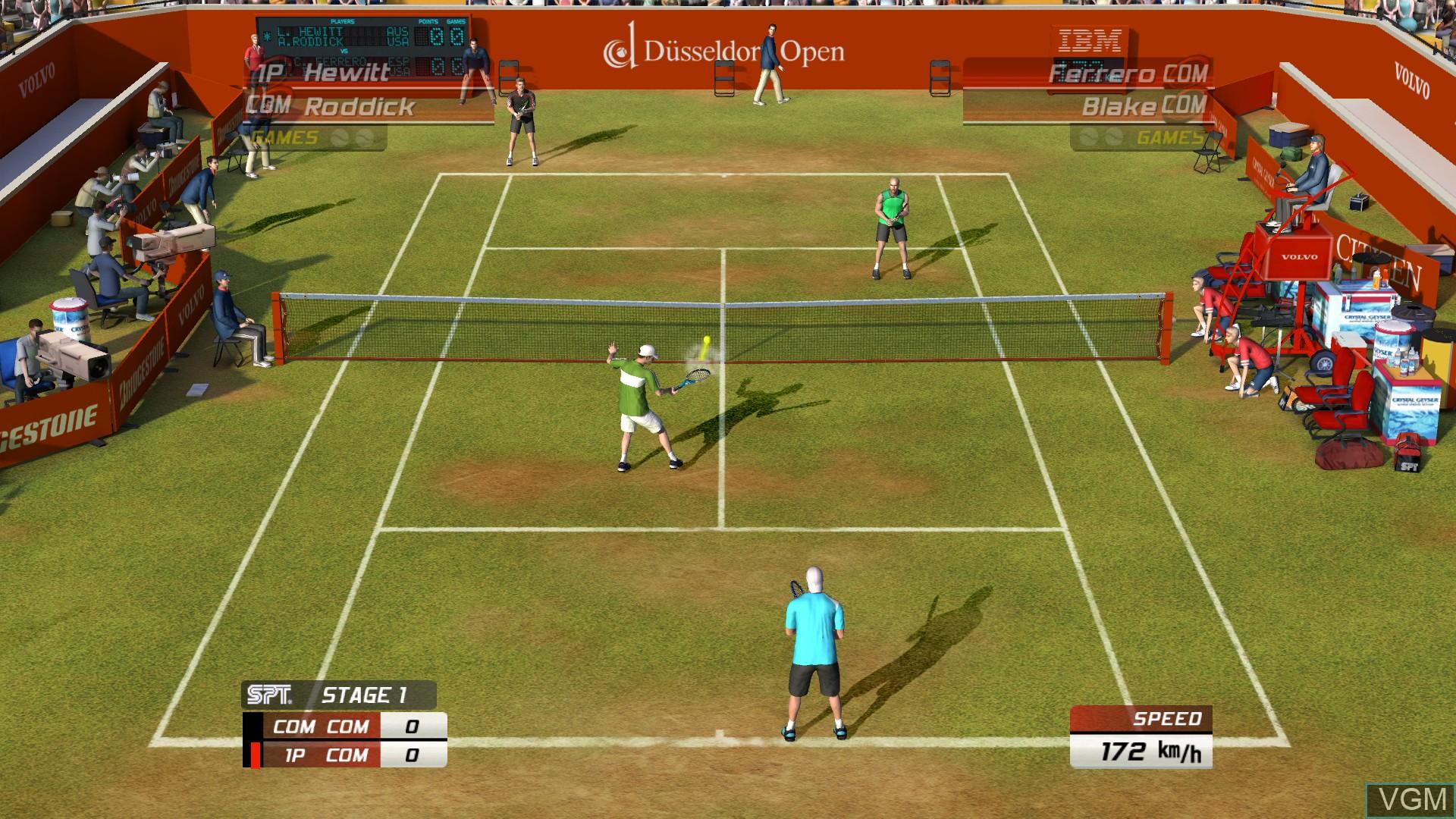 In-game screen of the game Virtua Tennis 3 on Microsoft Xbox 360
