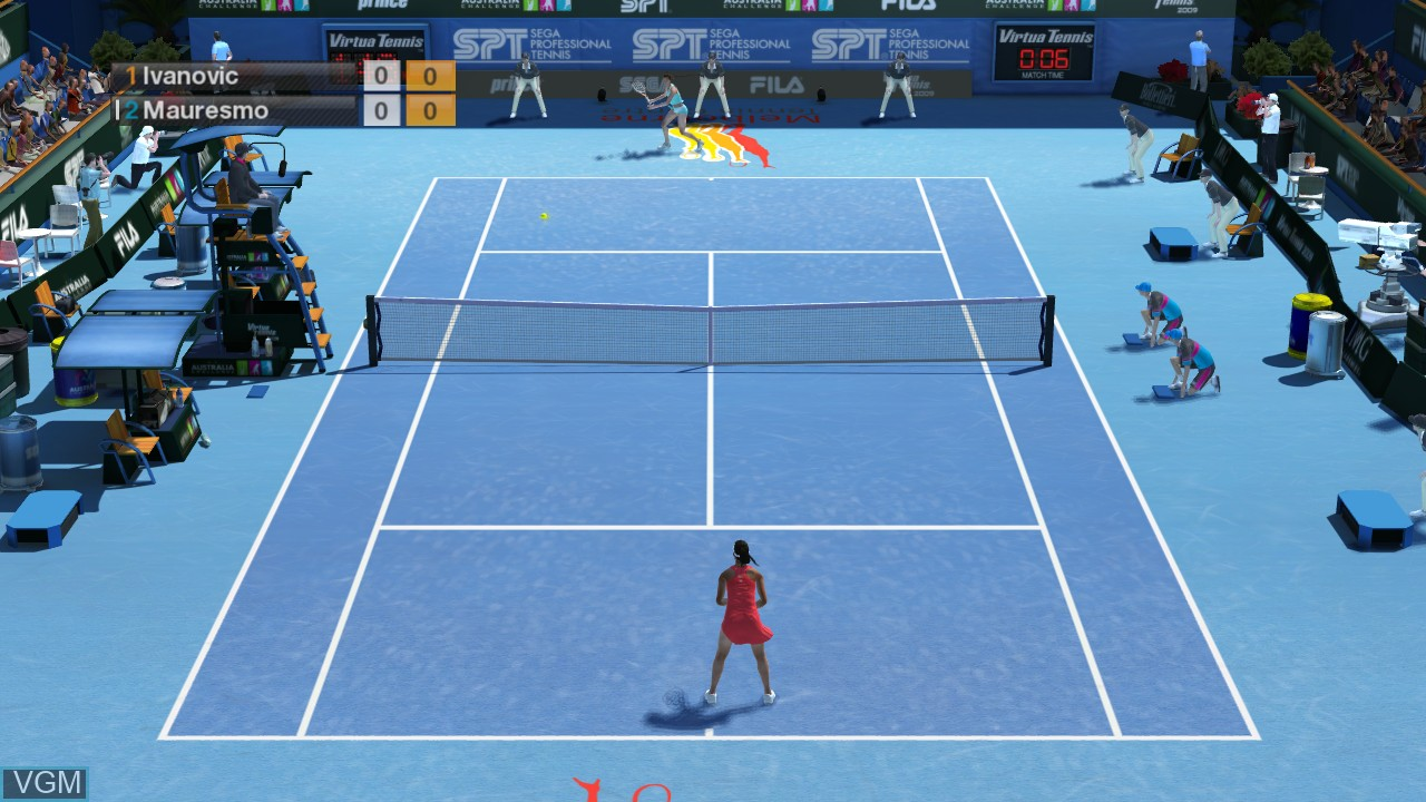In-game screen of the game Virtua Tennis 2009 on Microsoft Xbox 360