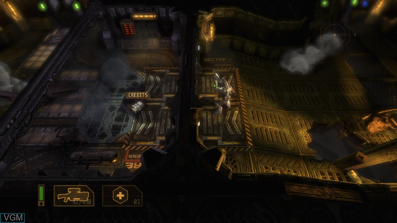 In-game screen of the game Alien Breed 3 - Descent on Microsoft Xbox 360