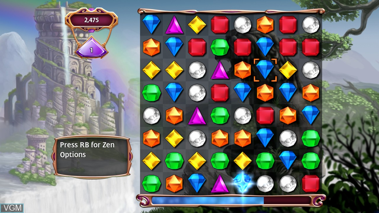 In-game screen of the game Bejeweled 3 on Microsoft Xbox 360