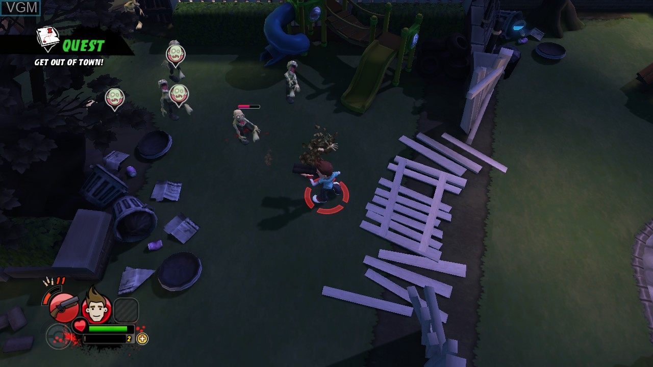 In-game screen of the game All Zombies Must Die! on Microsoft Xbox 360