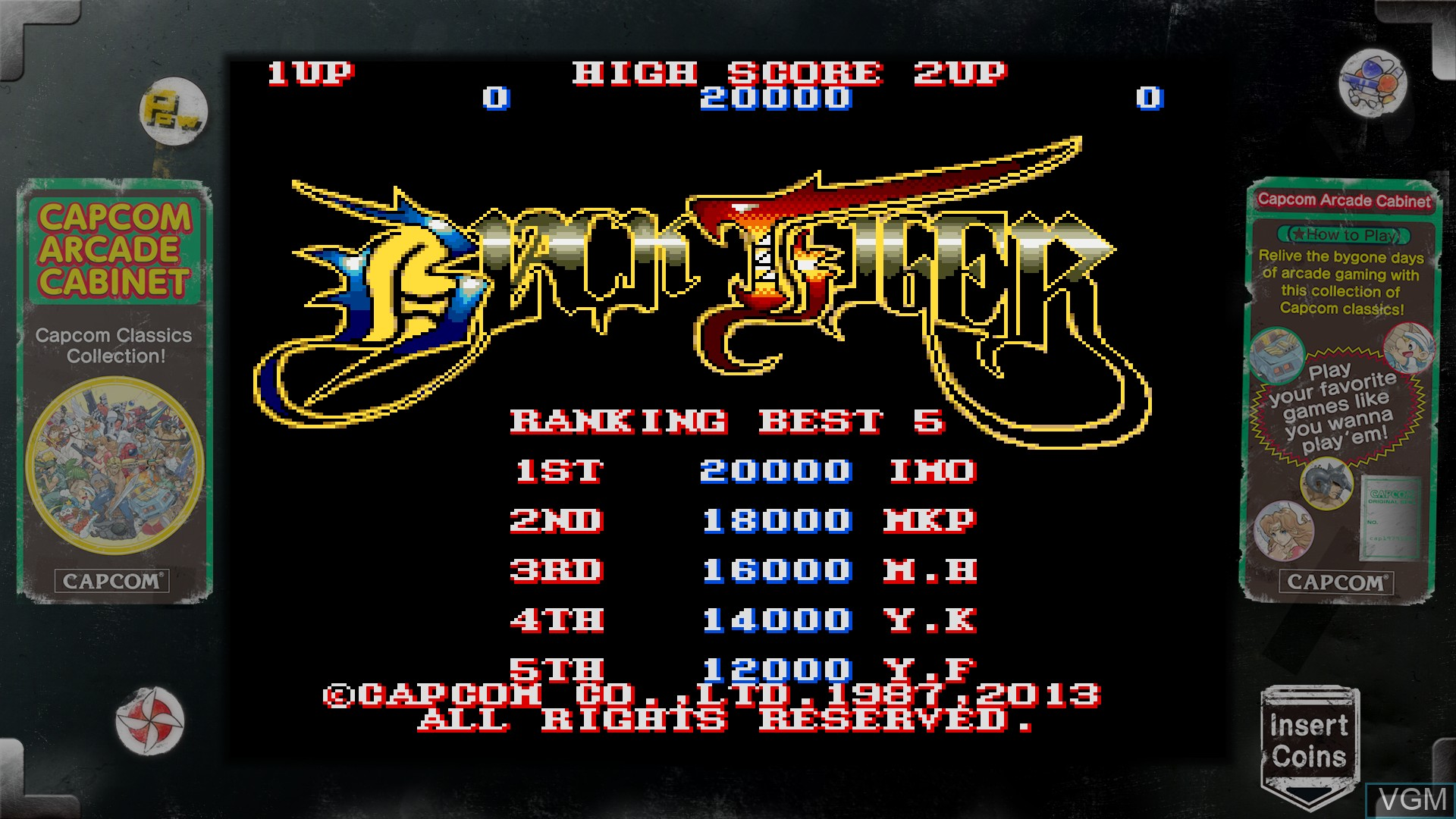 In-game screen of the game Capcom Arcade Cabinet on Microsoft Xbox 360