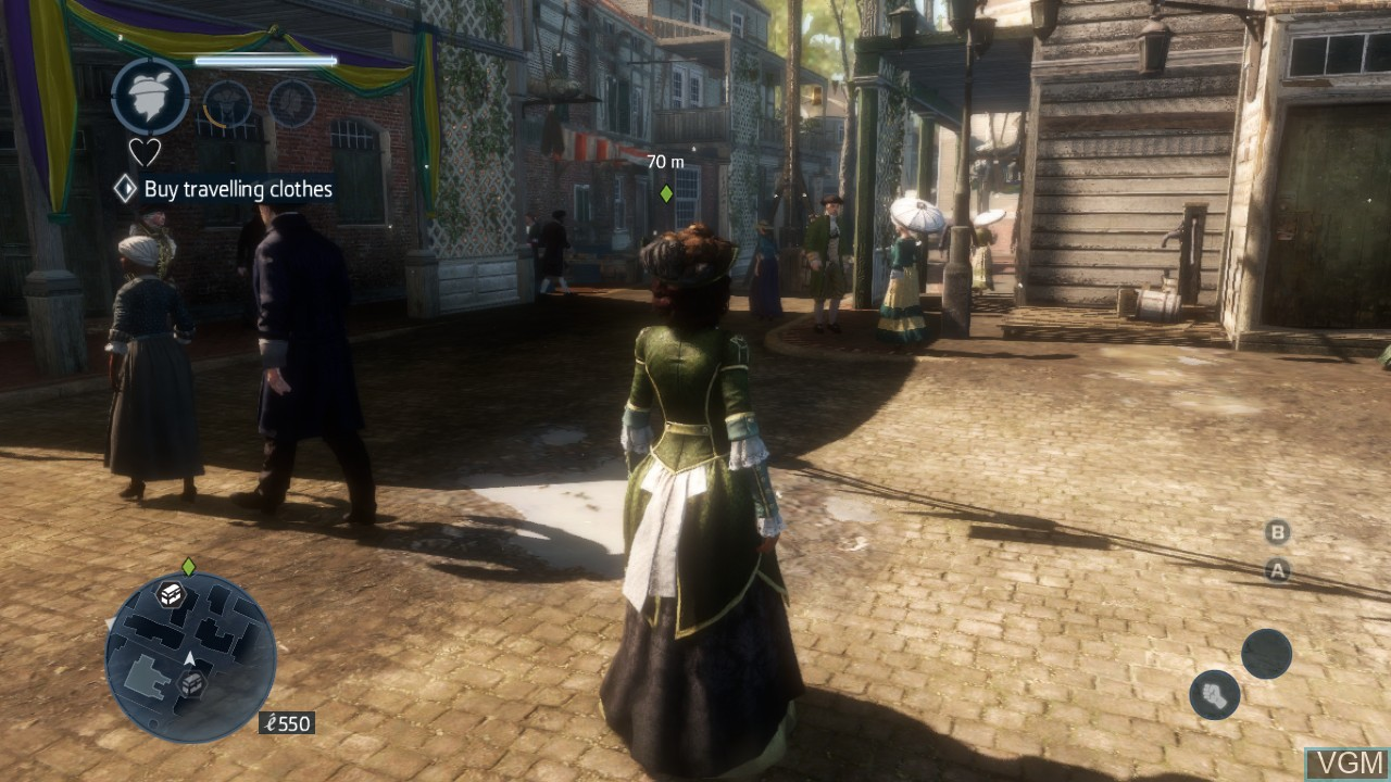 In-game screen of the game Assassin's Creed Liberation HD on Microsoft Xbox 360