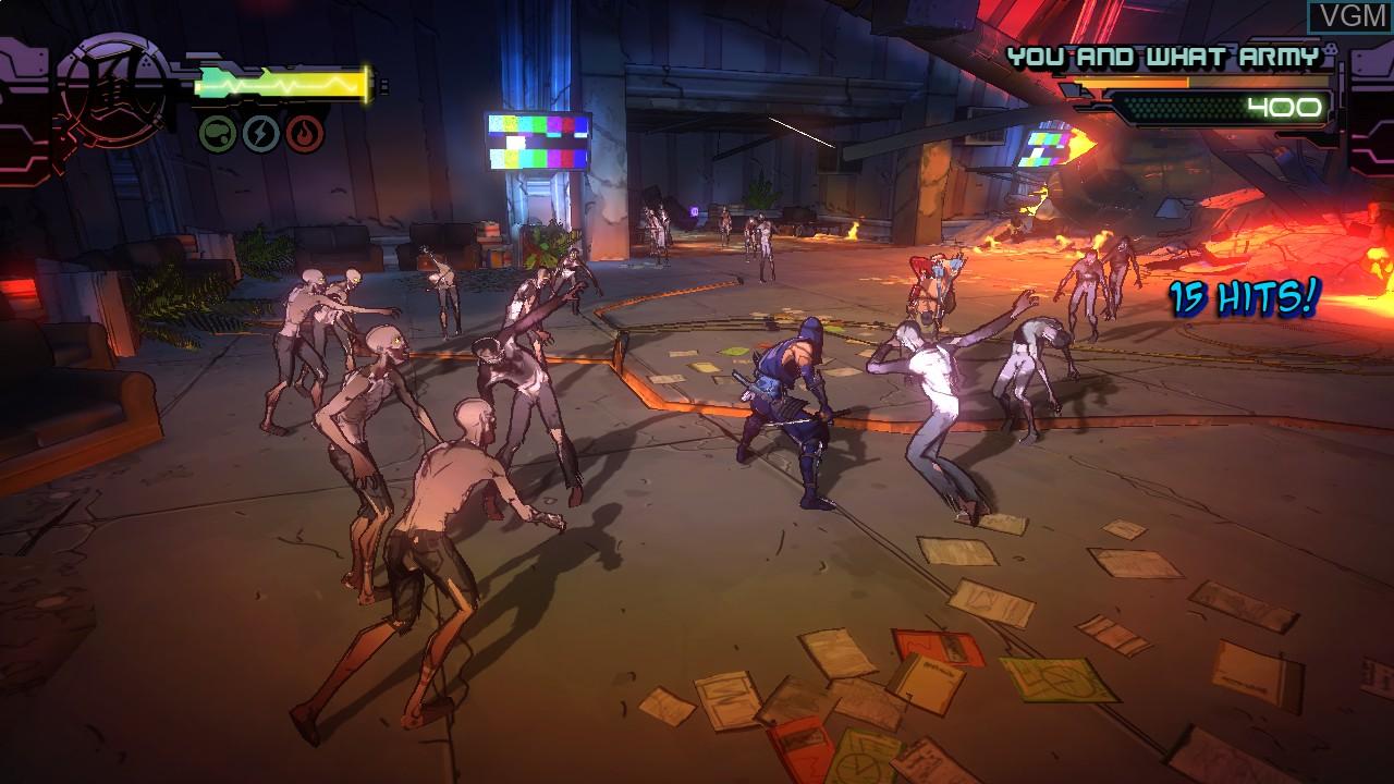 In-game screen of the game Yaiba - Ninja Gaiden Z on Microsoft Xbox 360