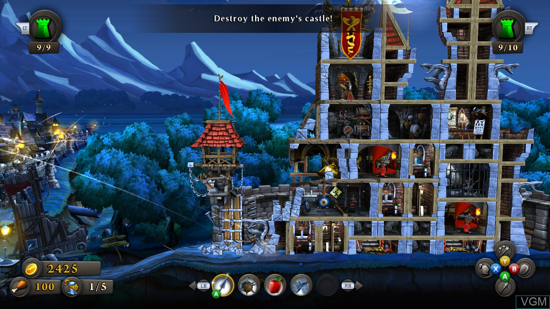 In-game screen of the game CastleStorm on Microsoft Xbox 360