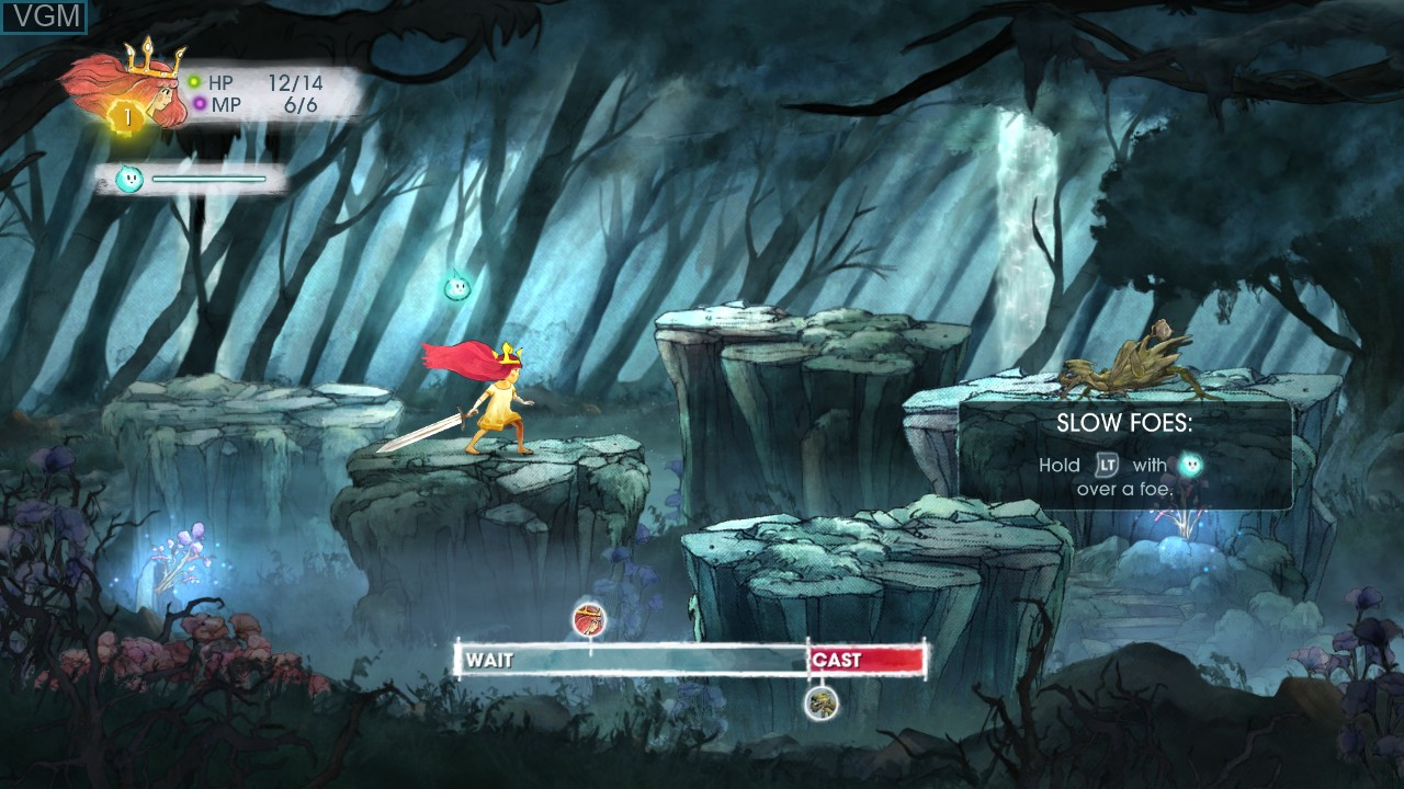 In-game screen of the game Child of Light on Microsoft Xbox 360