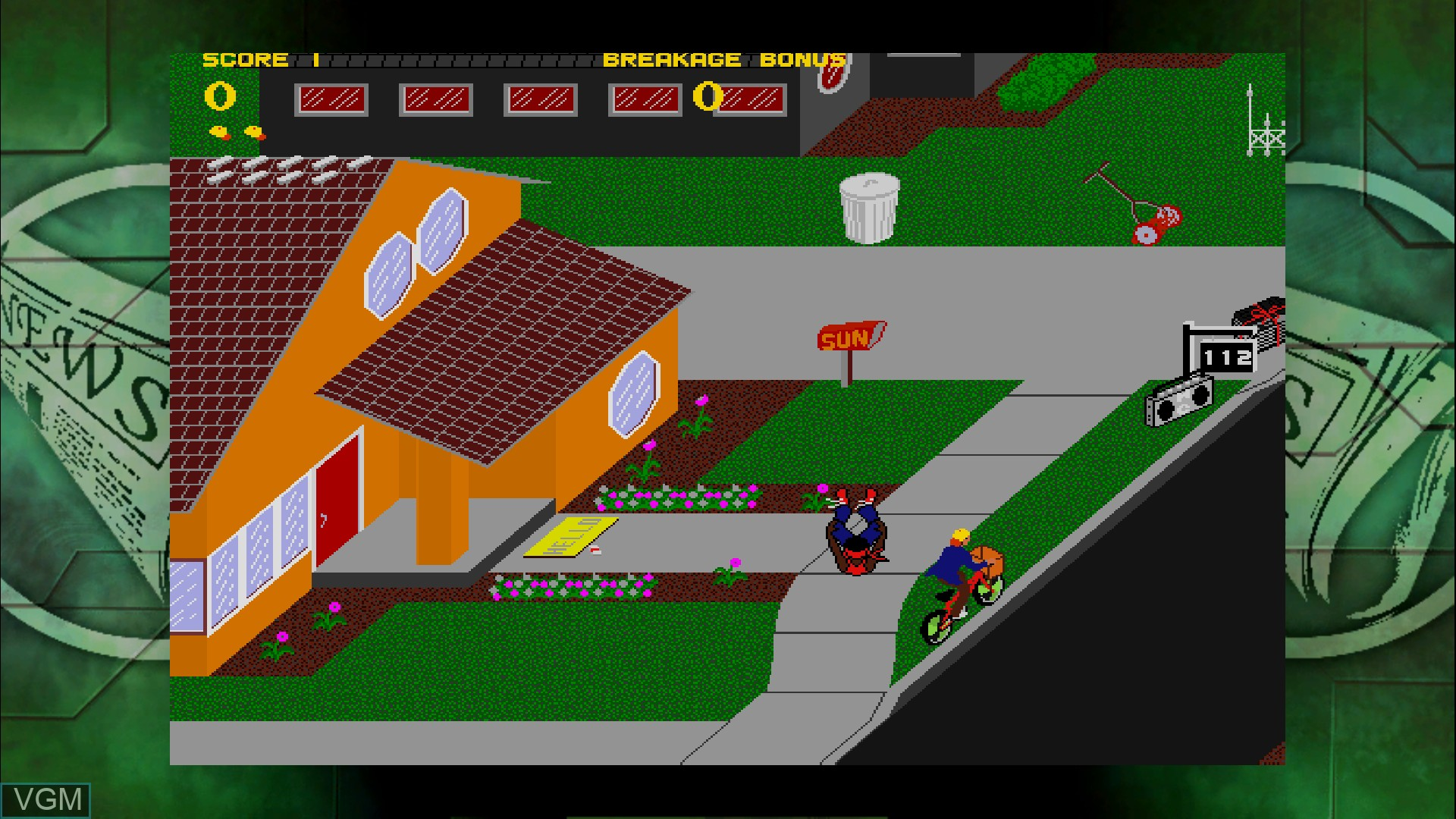 In-game screen of the game Paperboy on Microsoft Xbox 360