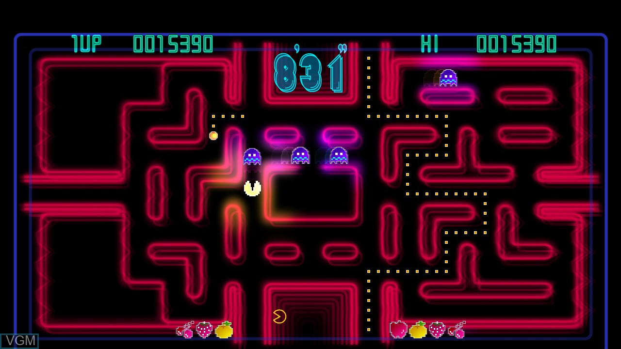 In-game screen of the game Pac-Man Championship Edition on Microsoft Xbox 360