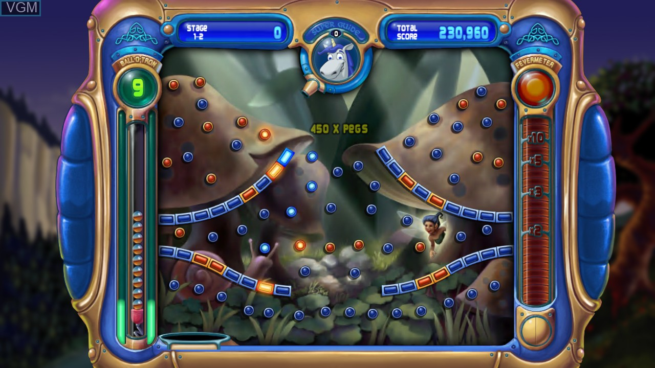 In-game screen of the game Peggle on Microsoft Xbox 360