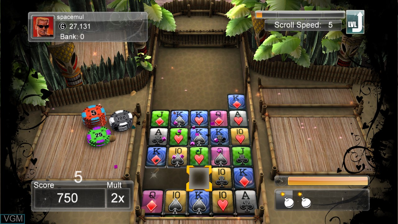 In-game screen of the game Poker Smash on Microsoft Xbox 360