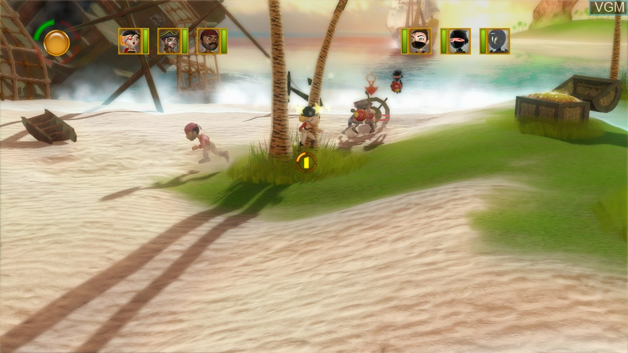 In-game screen of the game Pirates vs Ninjas Dodgeball on Microsoft Xbox 360