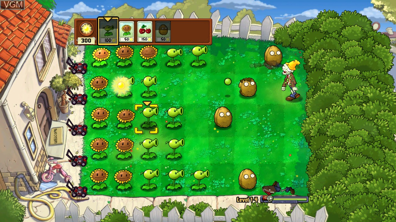 In-game screen of the game Plants vs. Zombies on Microsoft Xbox 360