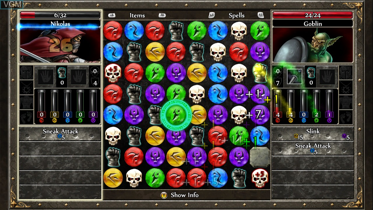 In-game screen of the game Puzzle Quest 2 on Microsoft Xbox 360