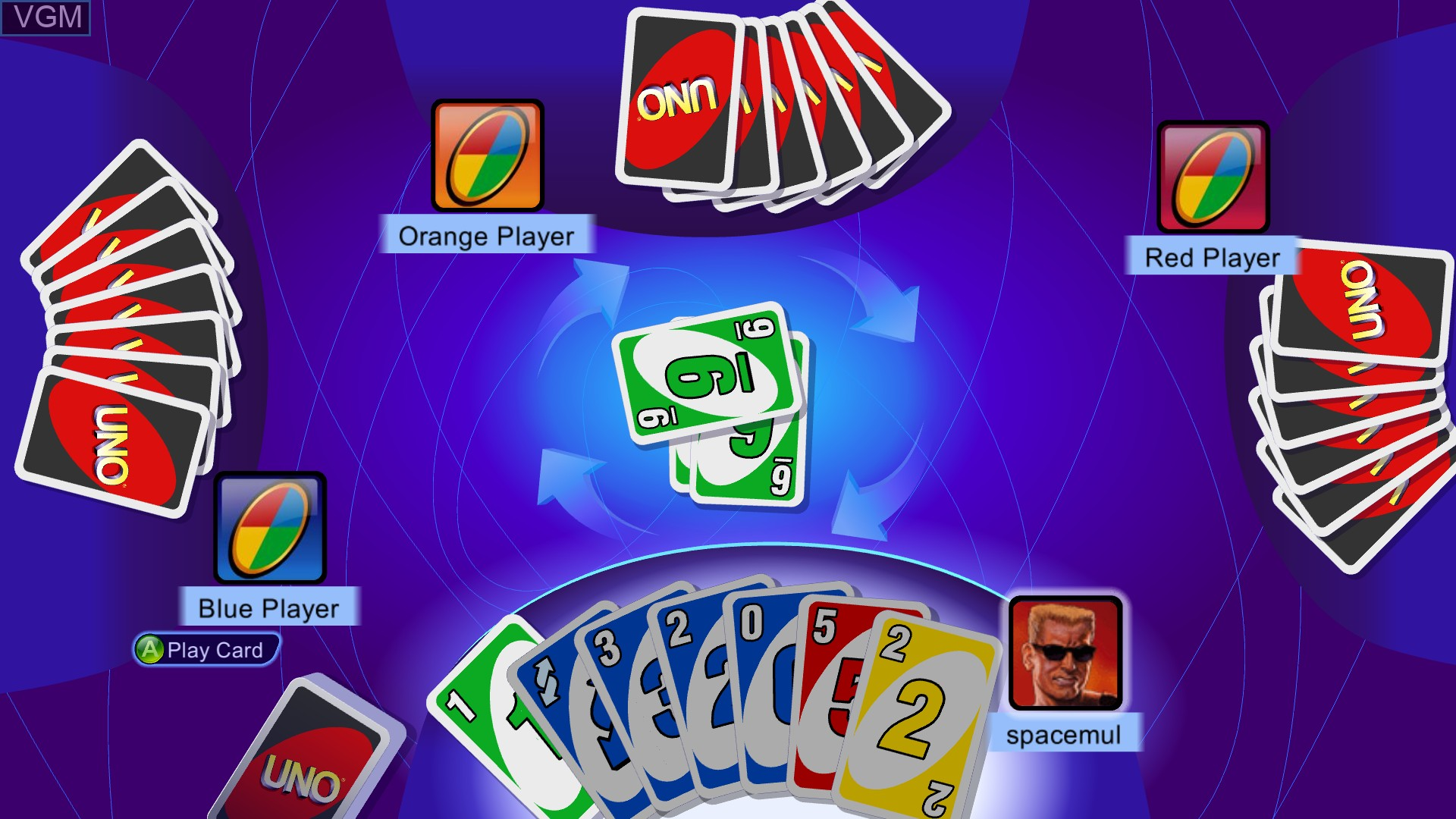 In-game screen of the game Uno on Microsoft Xbox 360