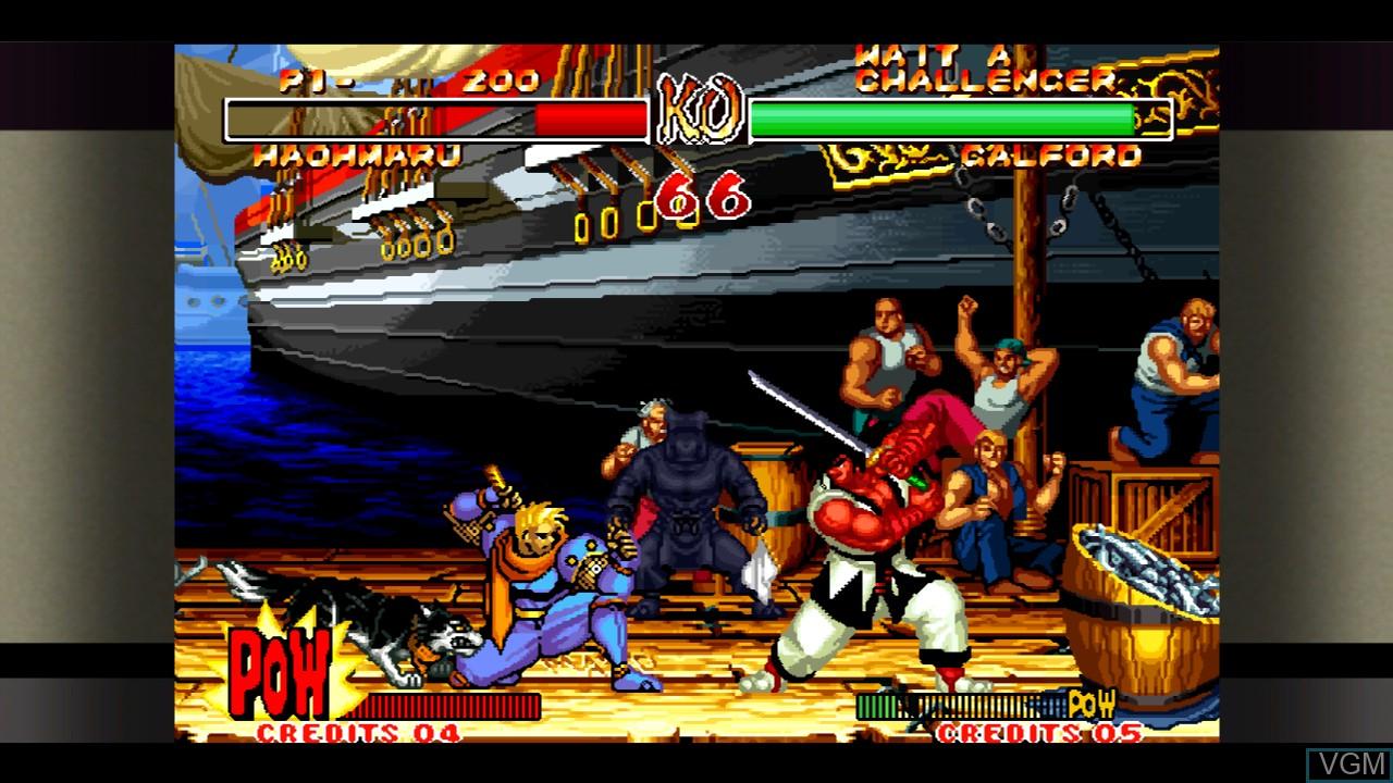 In-game screen of the game Samurai Shodown II on Microsoft Xbox 360