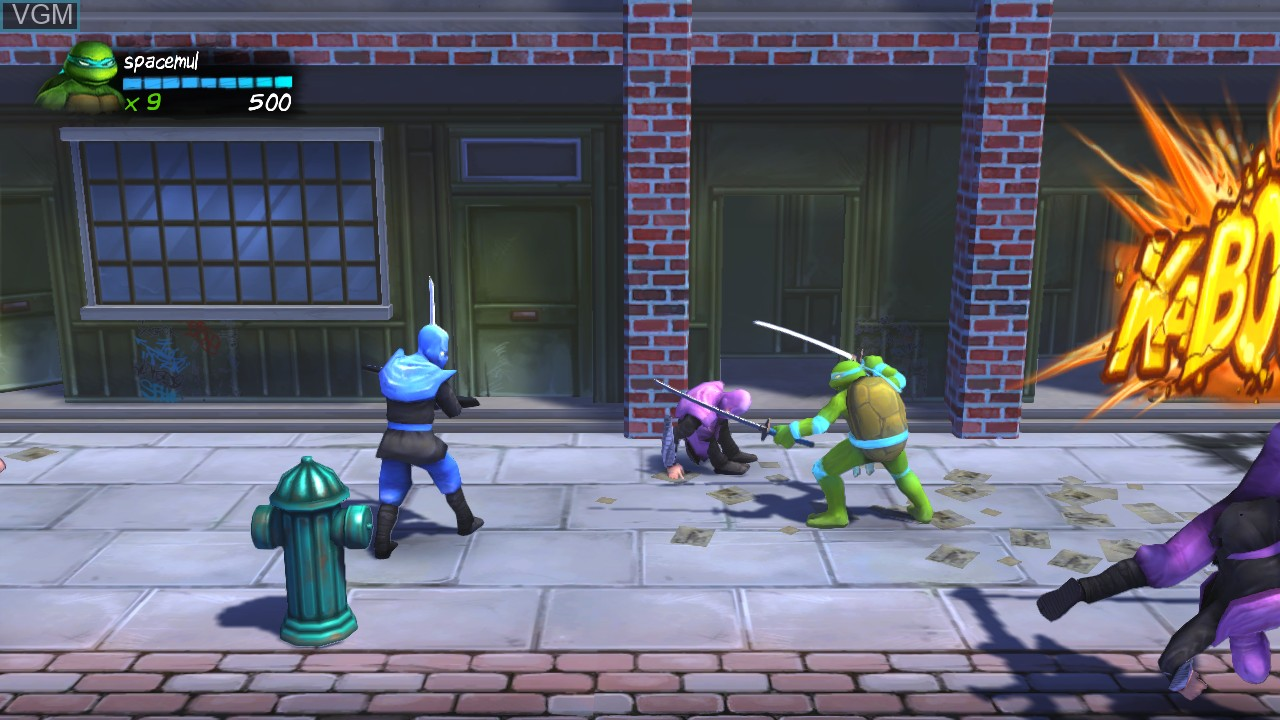In-game screen of the game Teenage Mutant Ninja Turtles - Turtles in Time Re-Shelled on Microsoft Xbox 360