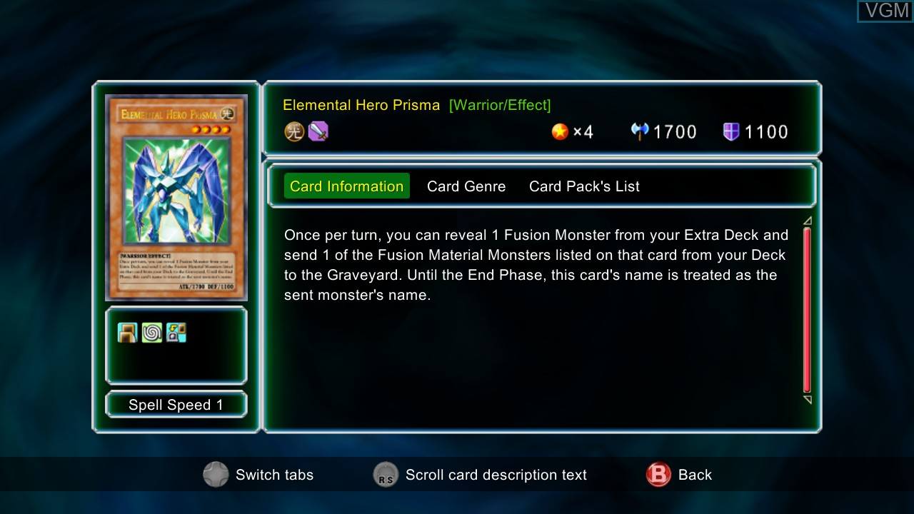 In-game screen of the game Yu-Gi-Oh! 5D's Decade Duels on Microsoft Xbox 360