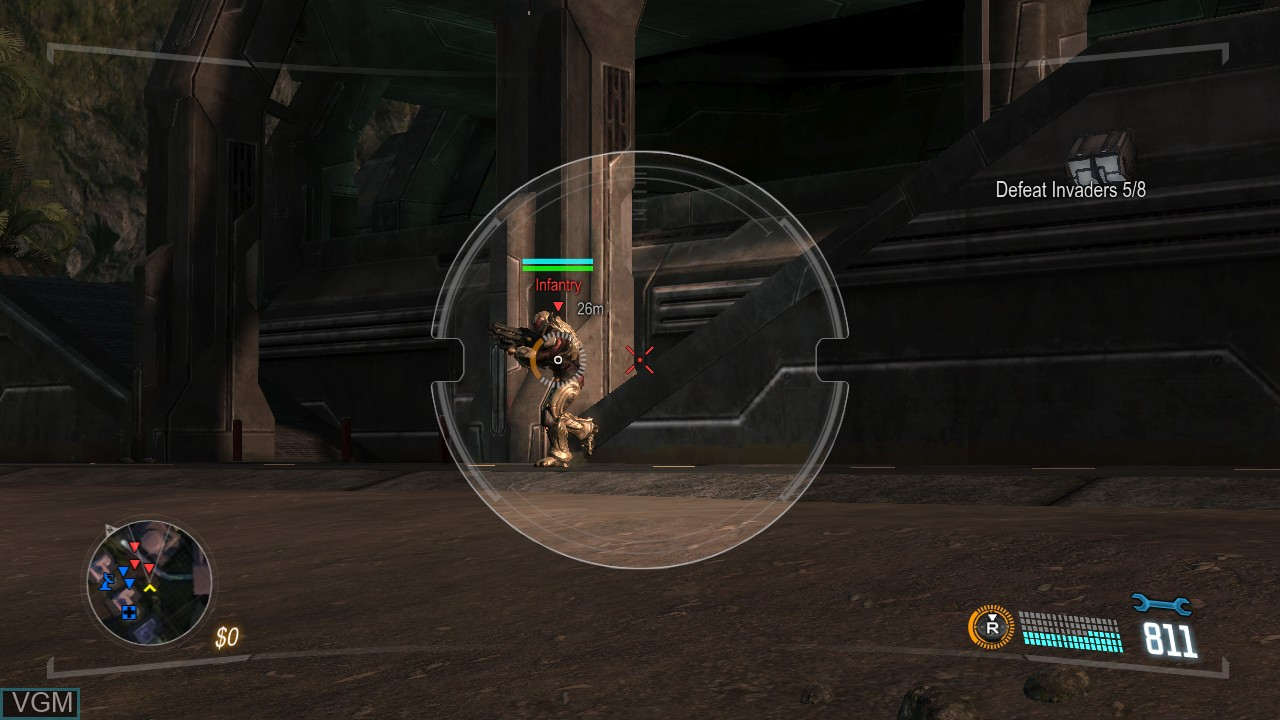In-game screen of the game Section 8 - Prejudice on Microsoft Xbox 360