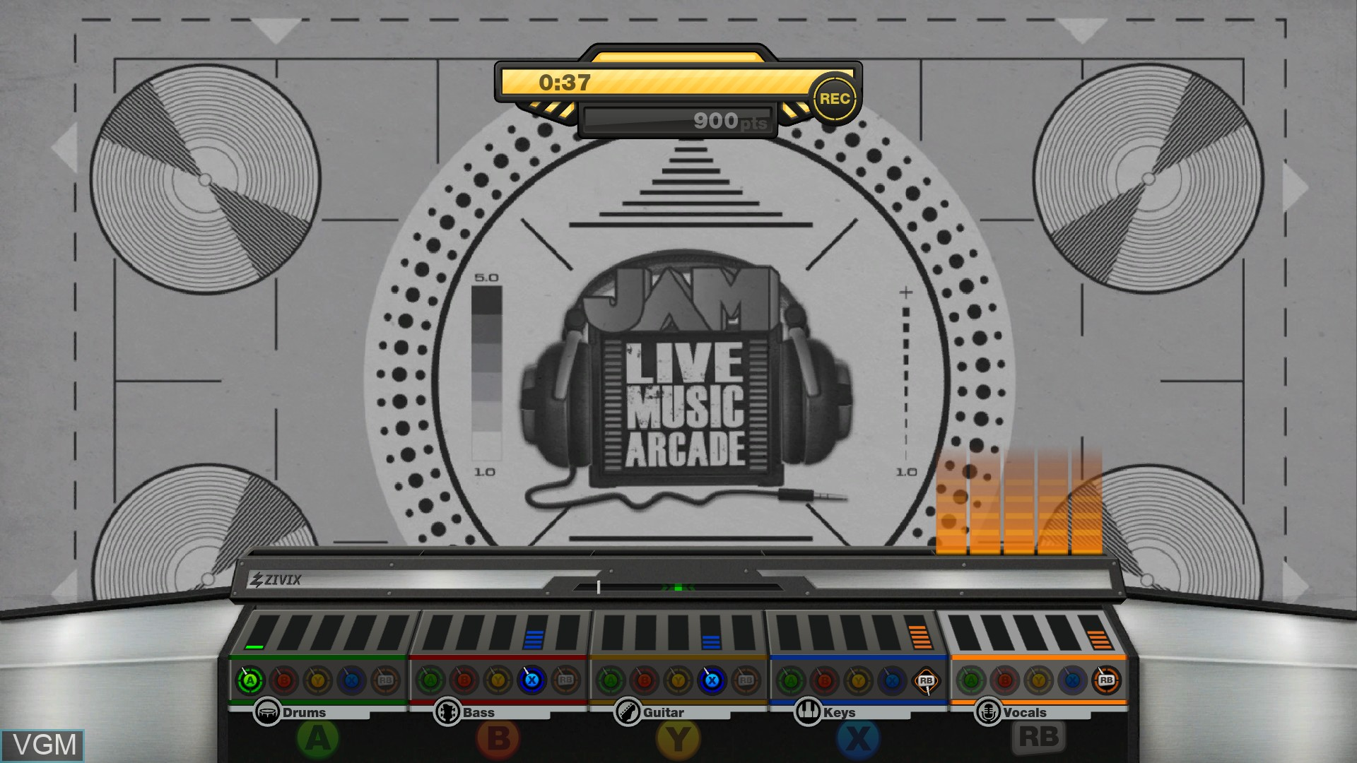 In-game screen of the game JAM Live Music Arcade on Microsoft Xbox 360