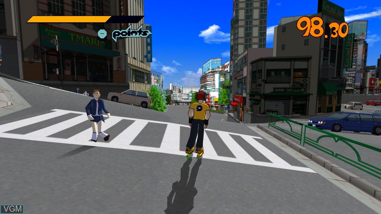 In-game screen of the game Jet Set Radio on Microsoft Xbox 360
