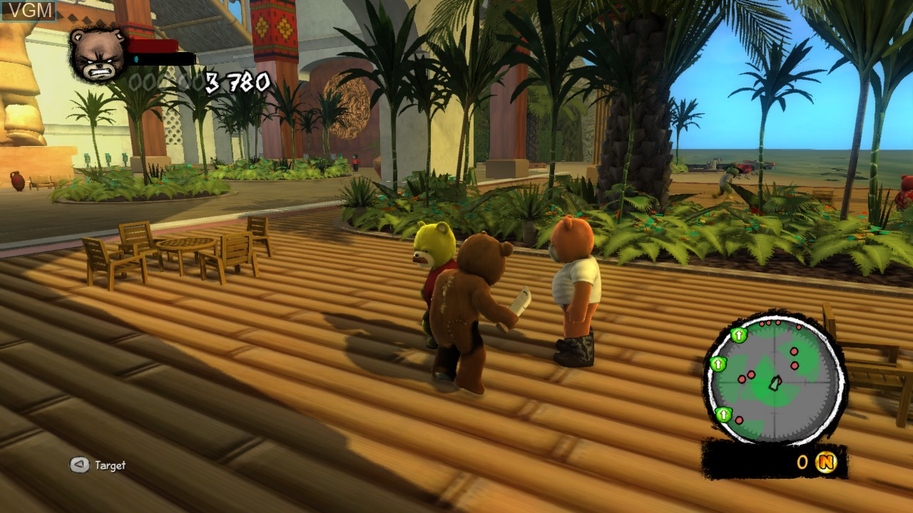 In-game screen of the game Naughty Bear - Panic in Paradise on Microsoft Xbox 360
