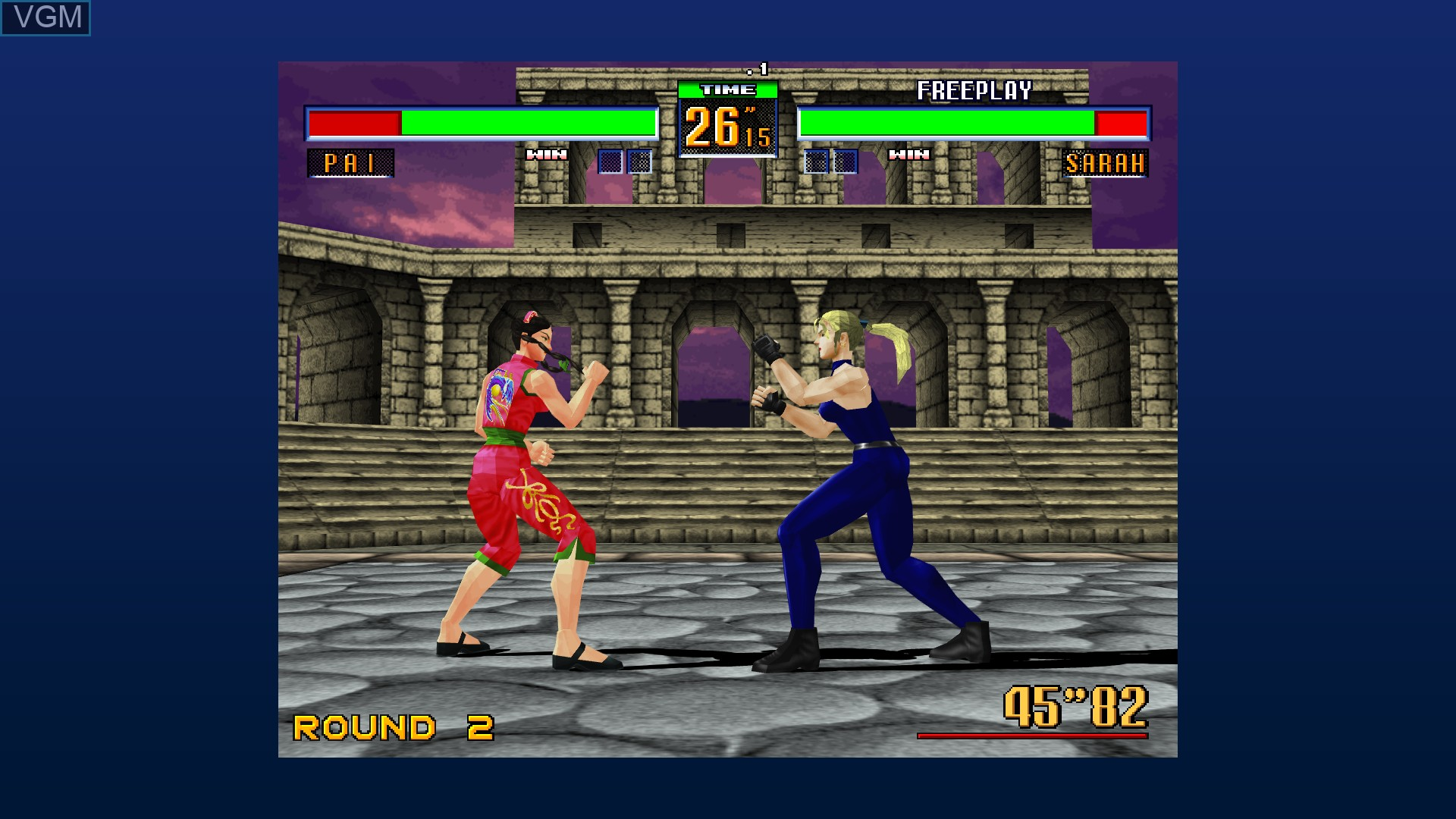 In-game screen of the game Virtua Fighter 2 on Microsoft Xbox 360