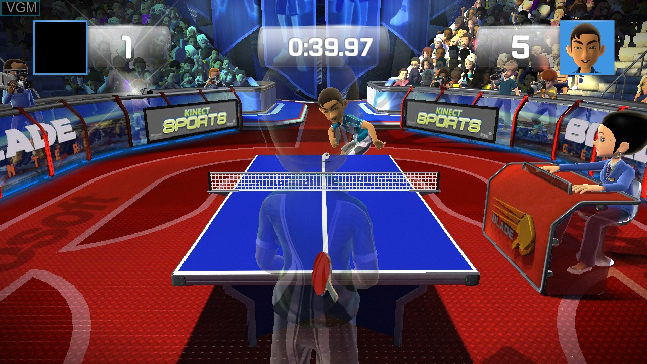 In-game screen of the game Kinect Sports - Ping Pong on Microsoft Xbox 360