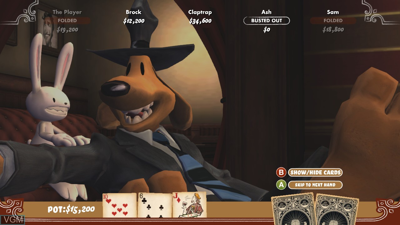 In-game screen of the game Poker Night 2 on Microsoft Xbox 360