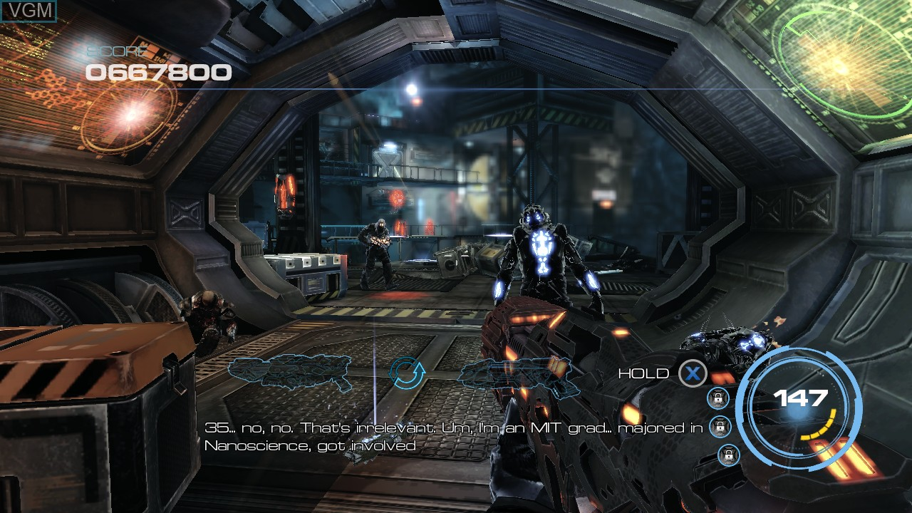 In-game screen of the game Alien Rage on Microsoft Xbox 360