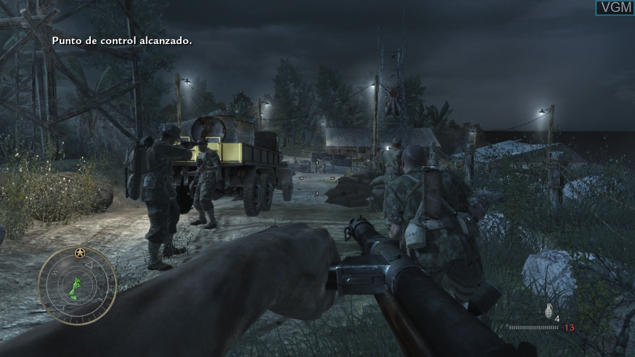 In-game screen of the game Call of Duty - World at War on Microsoft Xbox 360