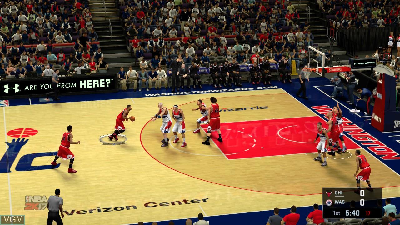 In-game screen of the game NBA 2K17 on Microsoft Xbox 360