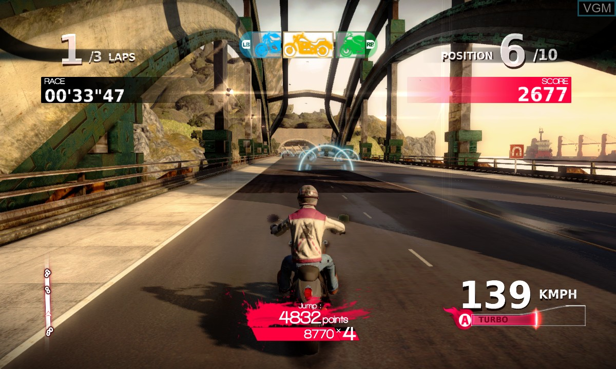 In-game screen of the game Motorcycle Club on Microsoft Xbox 360