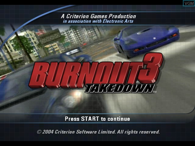 Title screen of the game Burnout 3 - Takedown on Microsoft Xbox
