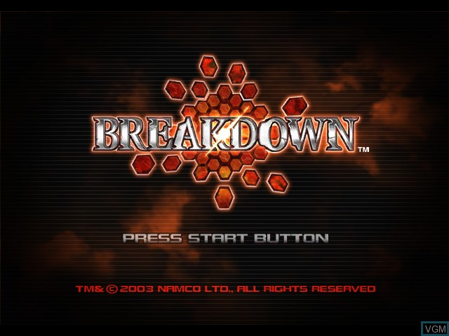 Title screen of the game Breakdown on Microsoft Xbox