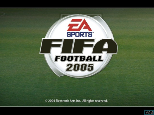 Title screen of the game FIFA Football 2005 on Microsoft Xbox