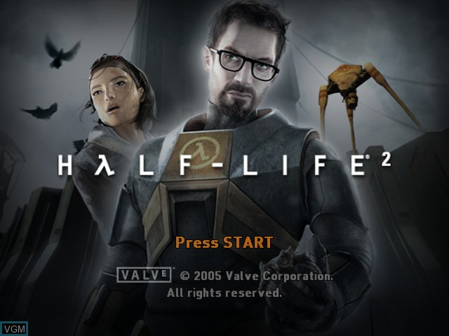Title screen of the game Half-Life 2 on Microsoft Xbox