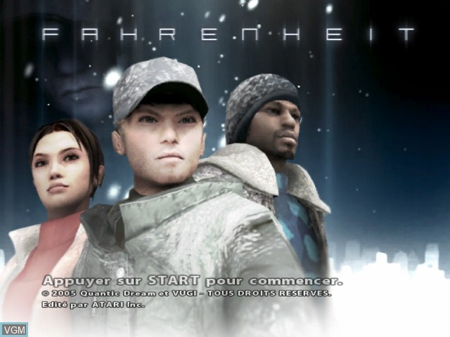Title screen of the game Fahrenheit on Microsoft Xbox