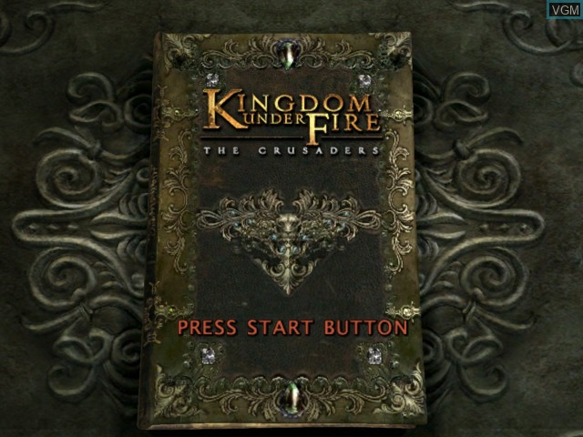 Title screen of the game Kingdom Under Fire - The Crusaders on Microsoft Xbox