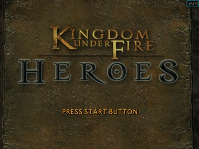 Title screen of the game Kingdom Under Fire - Heroes on Microsoft Xbox