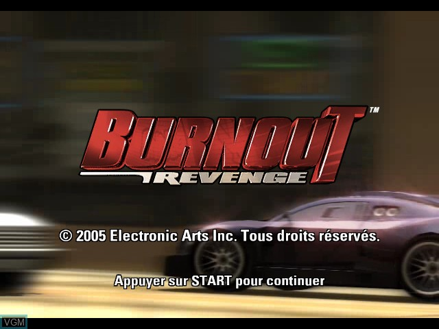 Title screen of the game Burnout Revenge on Microsoft Xbox