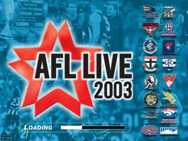 Title screen of the game AFL Live 2003 on Microsoft Xbox