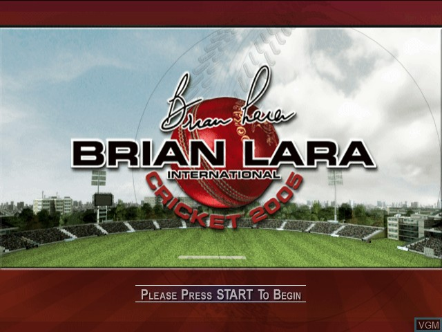 Title screen of the game Brian Lara International Cricket 2005 on Microsoft Xbox