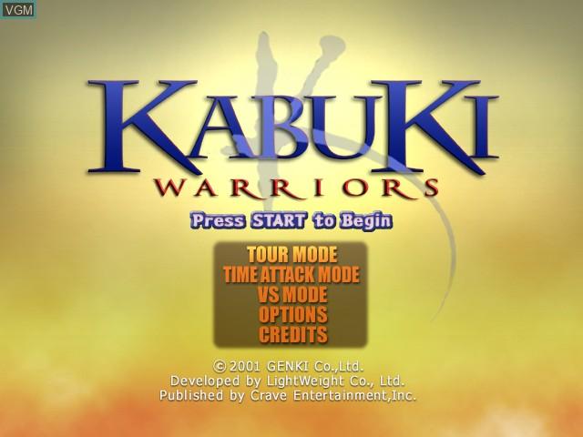 Title screen of the game Kabuki Warriors on Microsoft Xbox