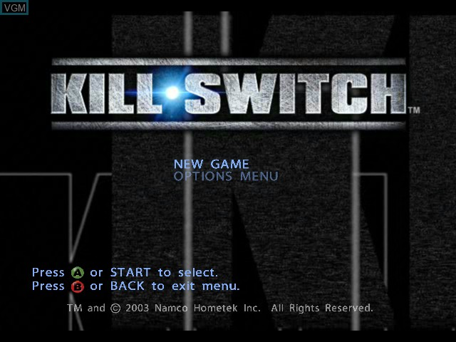 Title screen of the game kill.switch on Microsoft Xbox