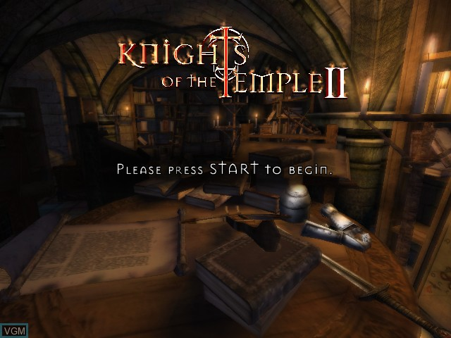 Title screen of the game Knights of the Temple II on Microsoft Xbox