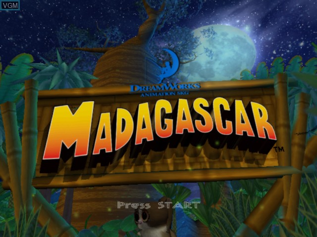 Title screen of the game Madagascar on Microsoft Xbox